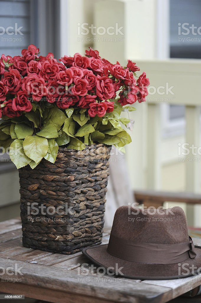 Hat and Flowers stock photo