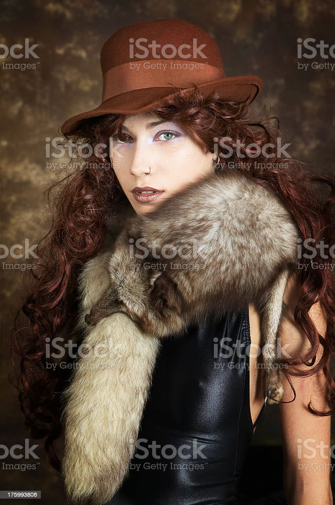 Hat and fur royalty-free stock photo