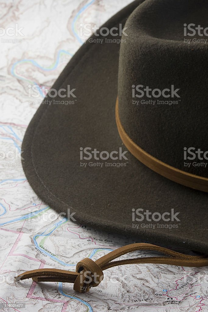 hat and map royalty-free stock photo