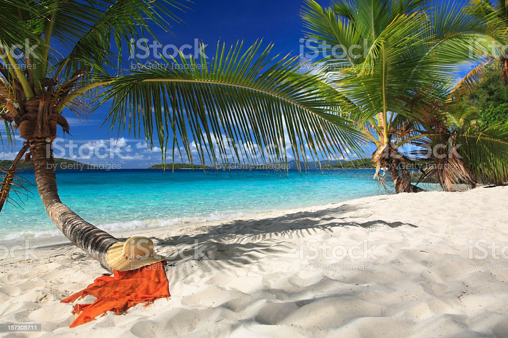hat and sarong under a palm tree on the beach royalty-free stock photo
