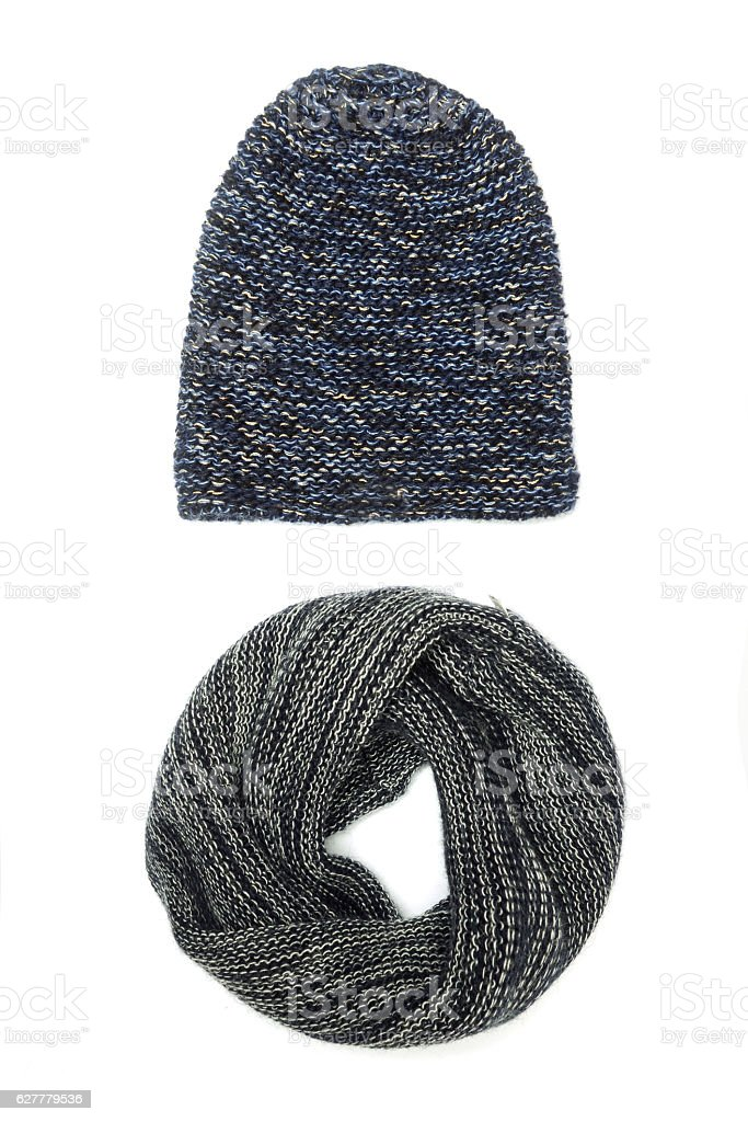 hat and scarf isolated on white stock photo