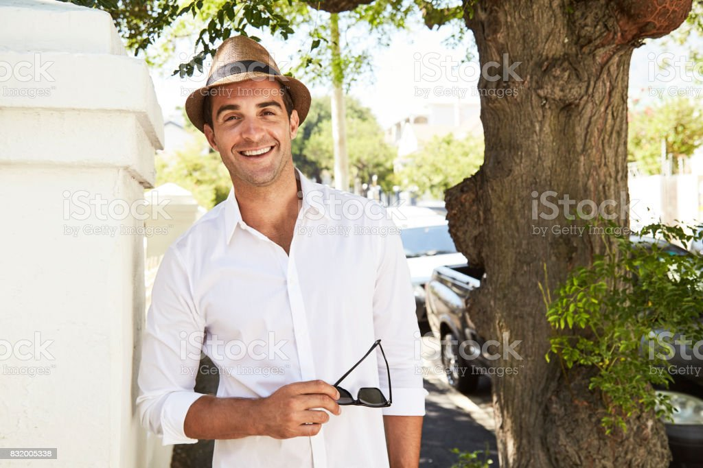 Hat and shirt fellow stock photo