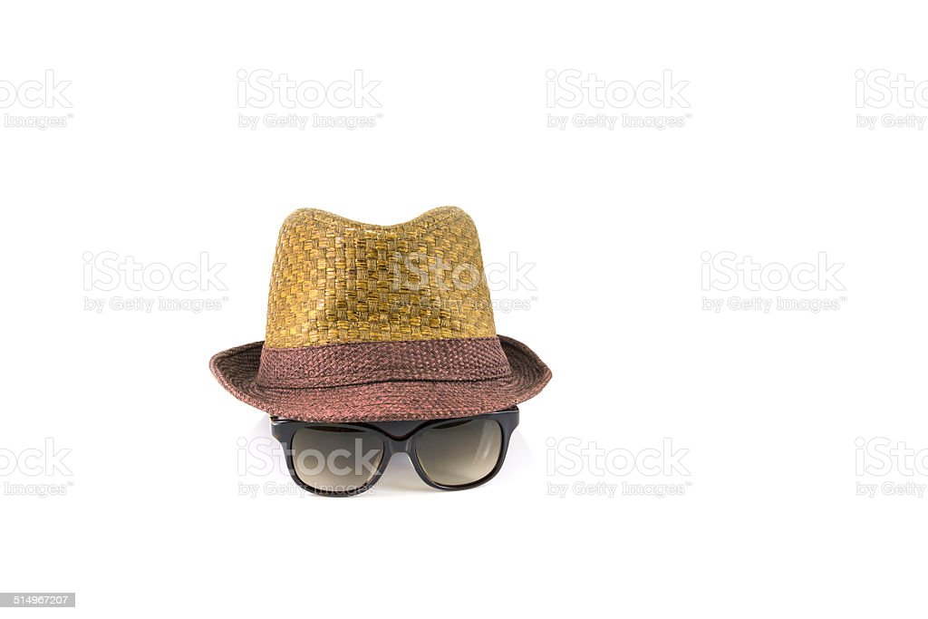 Hat and sunglasses stock photo