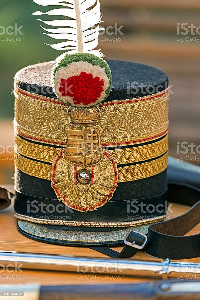 Hat at Hungarian infantry officer stock photo