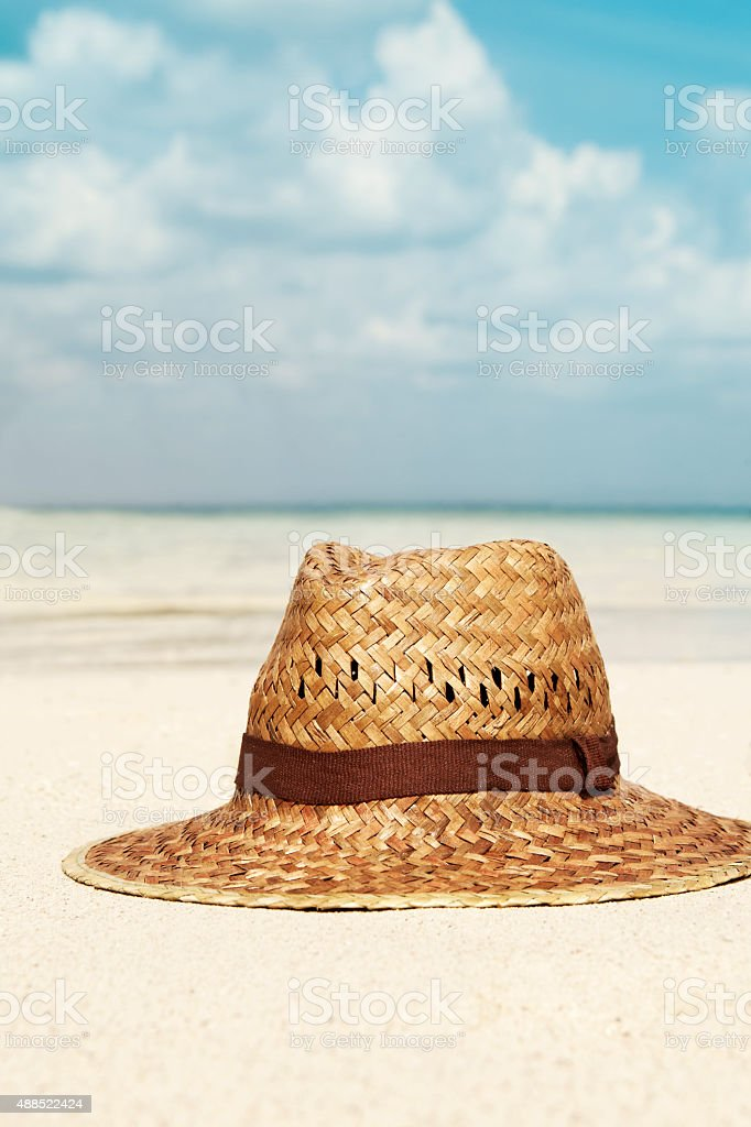 Hat at the Beach stock photo