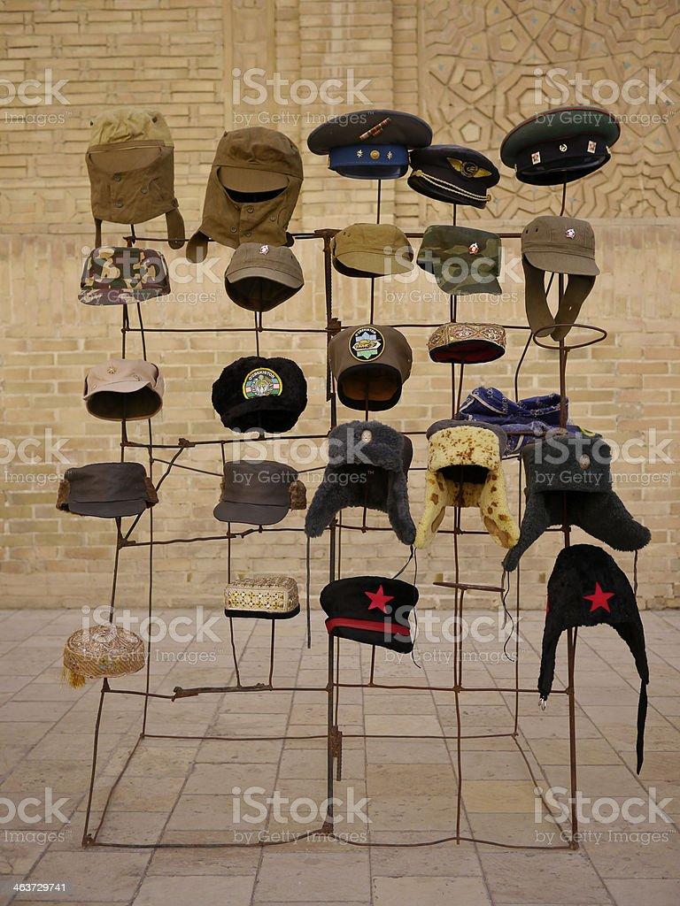 Hat fashion in Buchara stock photo