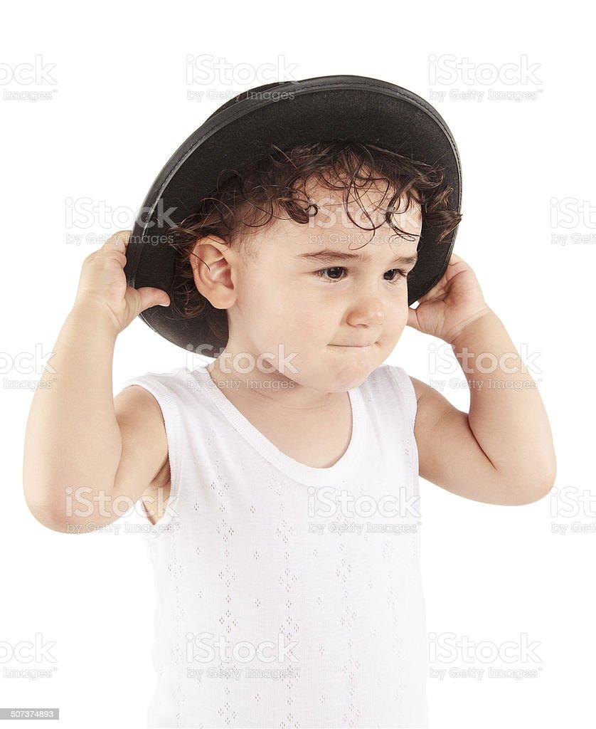 Hat little girl stock photo
