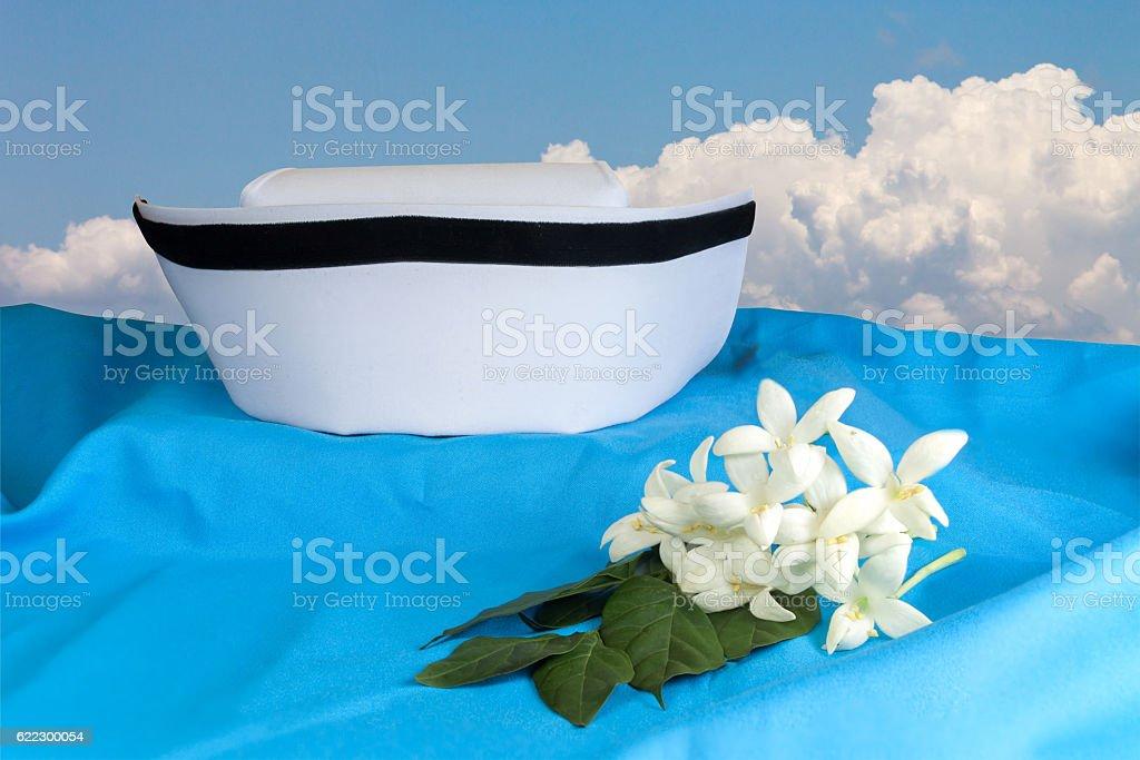 Hat nurse white and Millingtonia hortensis flowers stock photo