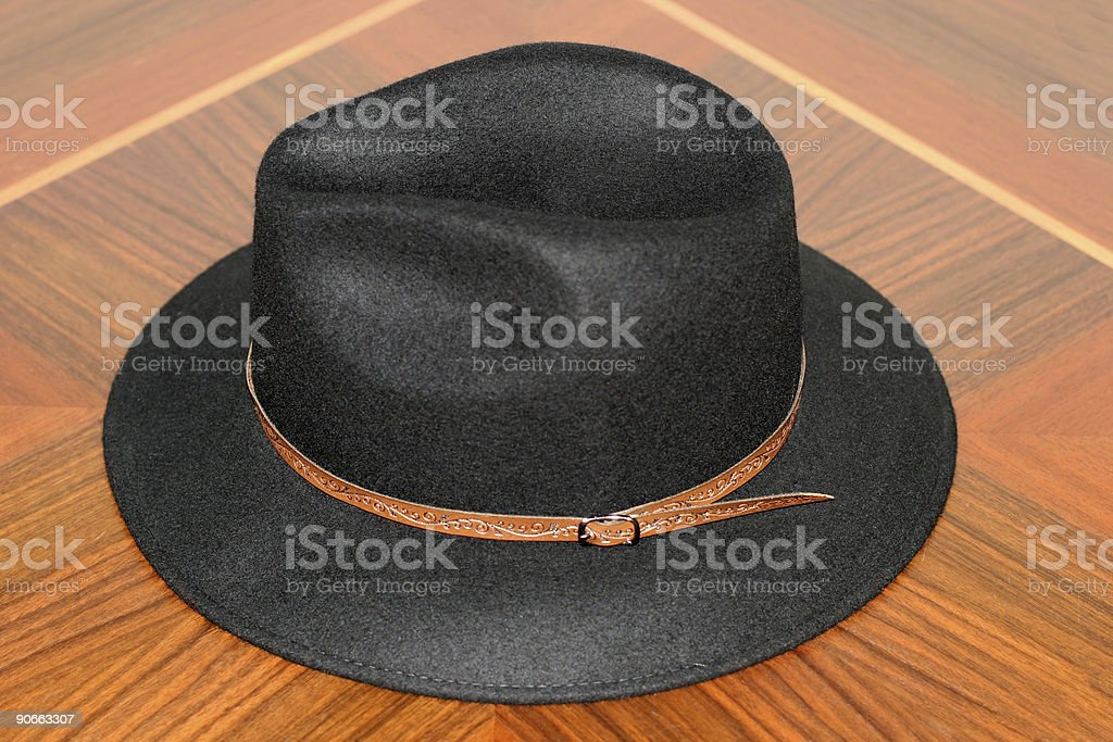 Hat on wood stock photo
