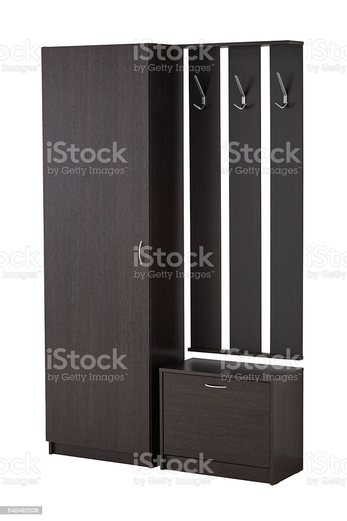 Hat rack, cabinet and shoe cabinet isolated on white. stock photo