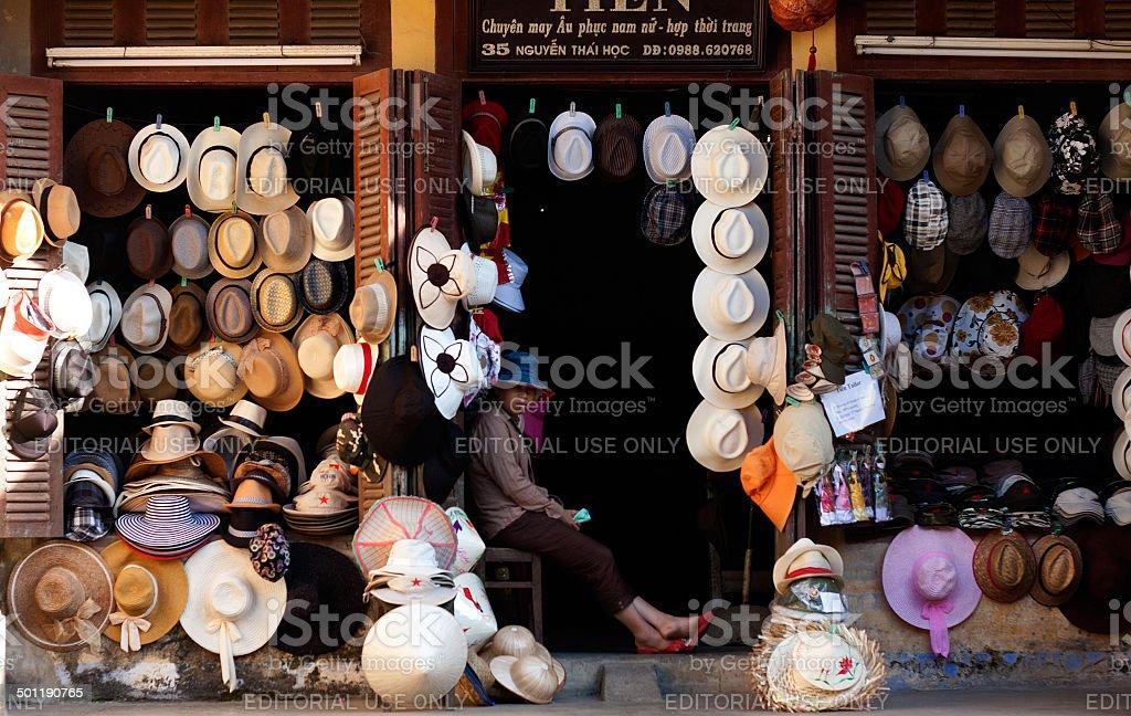 hat shop, Hoi An, Vietnam stock photo