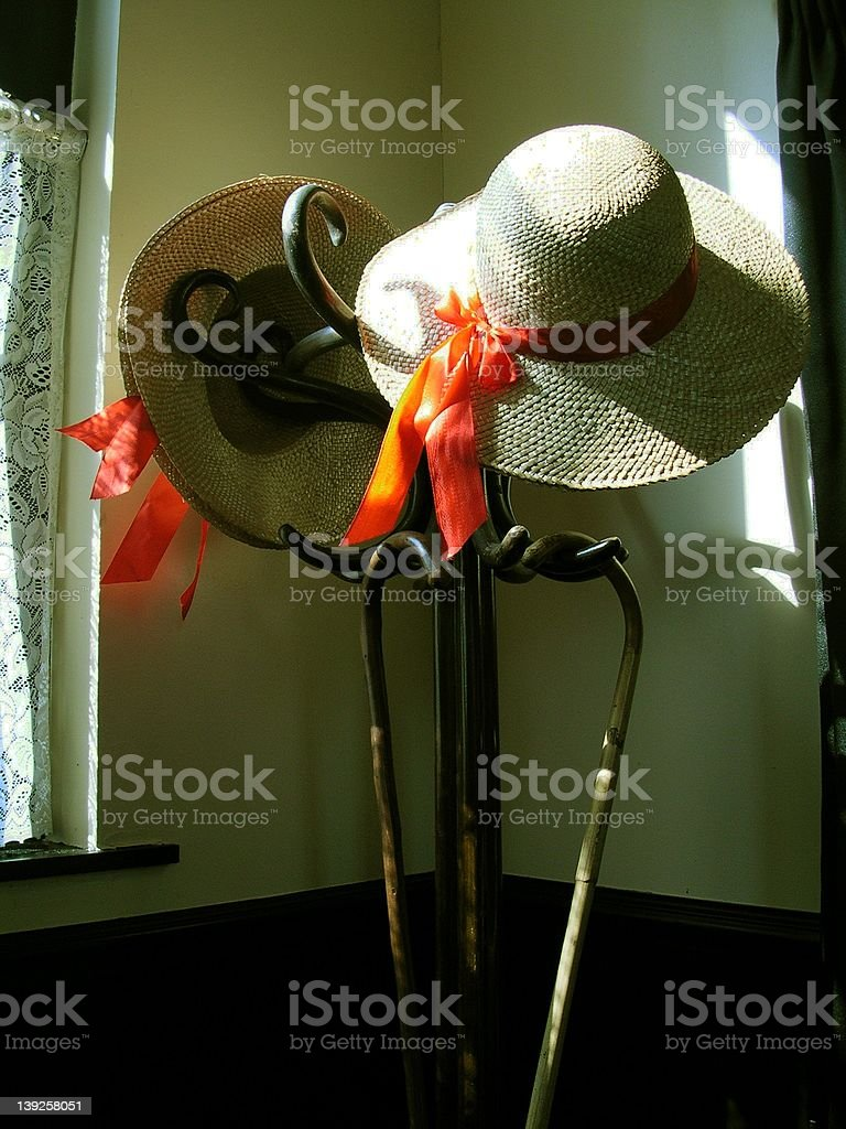 hat stand & bonnets royalty-free stock photo
