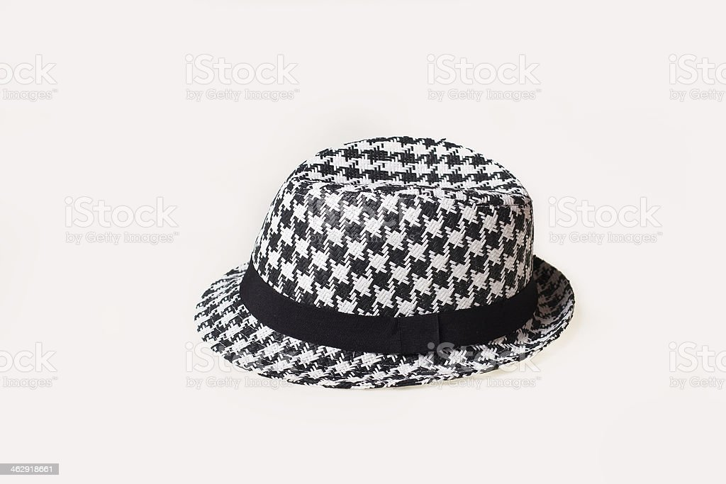 Hat with a houndstooch pattern stock photo