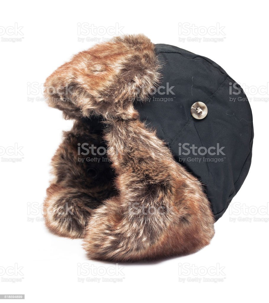 hat with ear flaps isolated stock photo