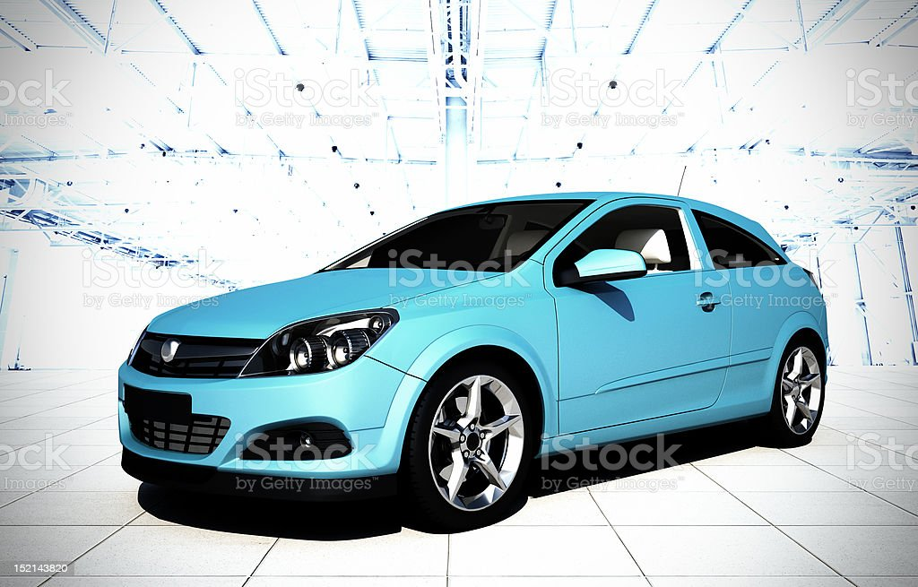 hatchback car 3d render royalty-free stock photo