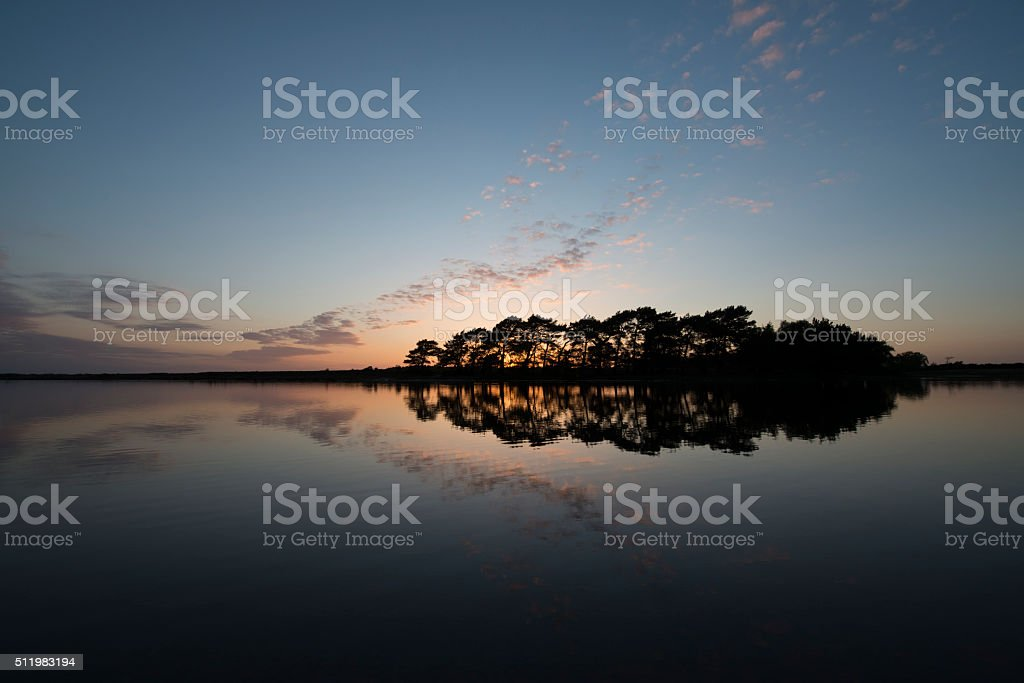 Hatchet Pond Sunset, near Beaulieu, New Forest National Park stock photo