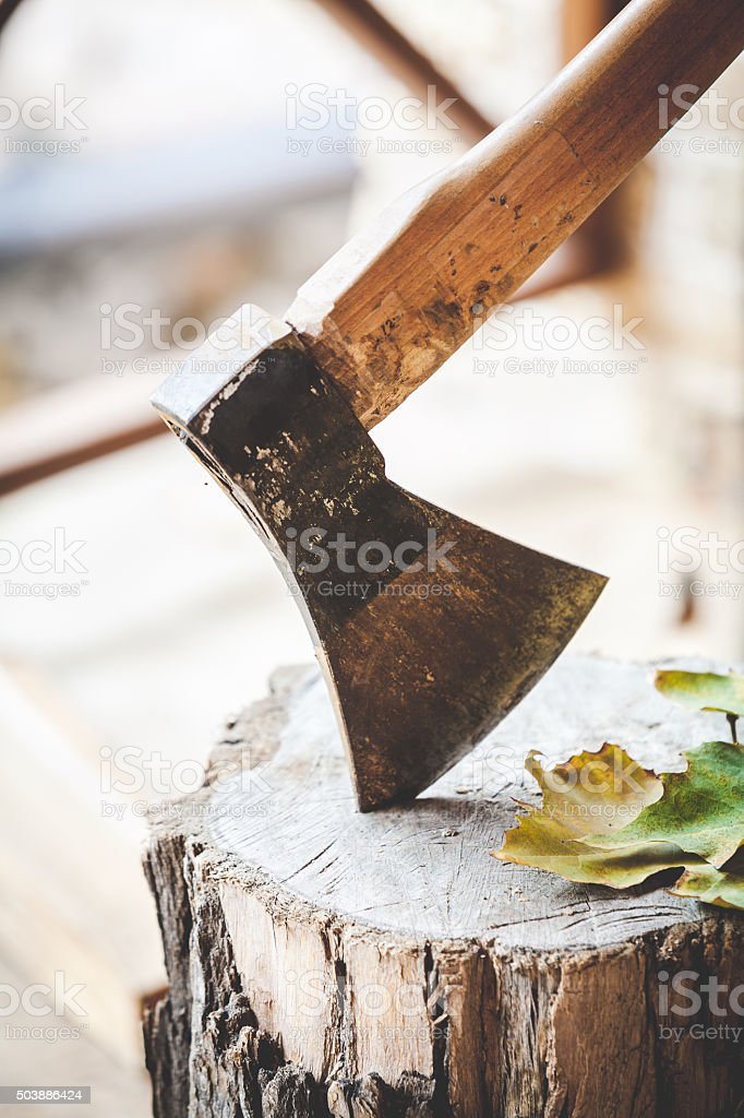 Hatchet sticking in bath where leaves lie stock photo