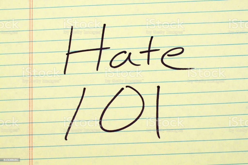 Hate 101 On A Yellow Legal Pad stock photo