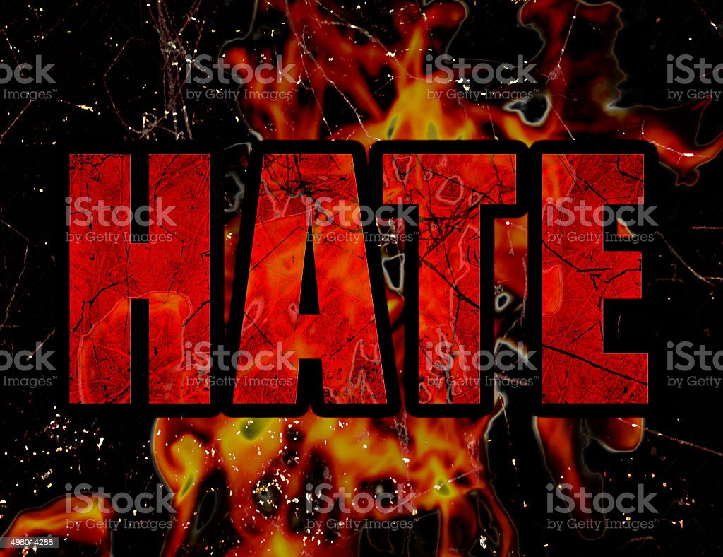 Hate Concept Typographic Design vector art illustration