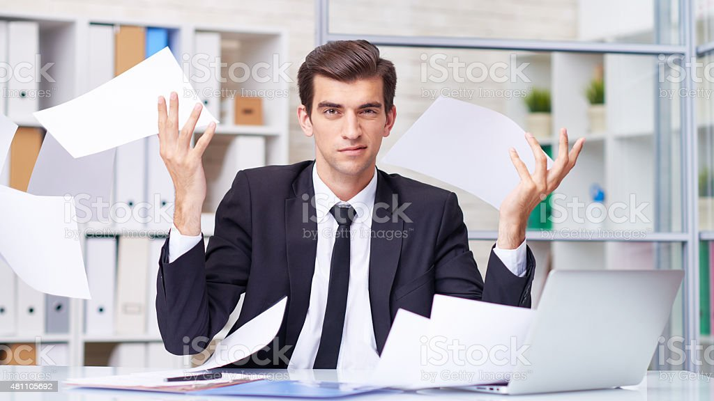 I hate doing paperwork stock photo