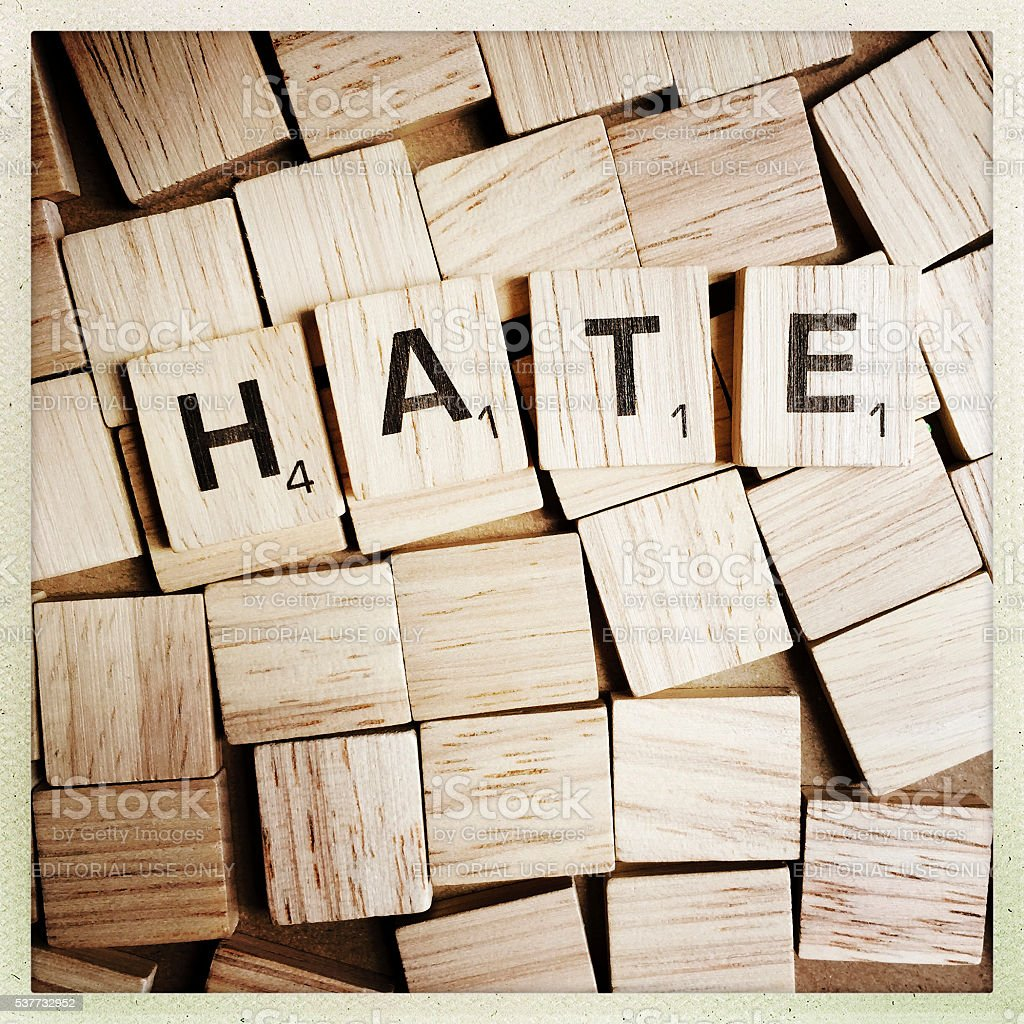 Hate Spelled with Scrabble Letters stock photo