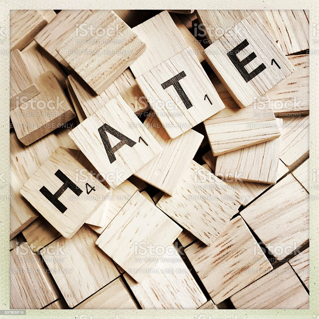 Hate the Word Spelled with Scrabble Letters stock photo