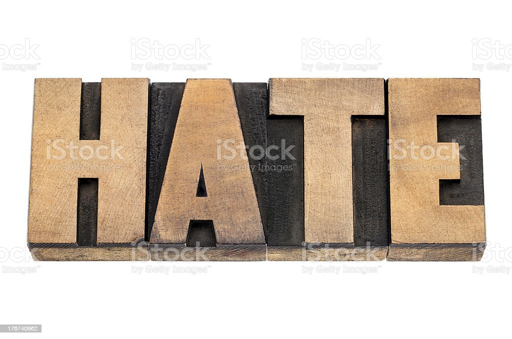 hate word in wood type stock photo