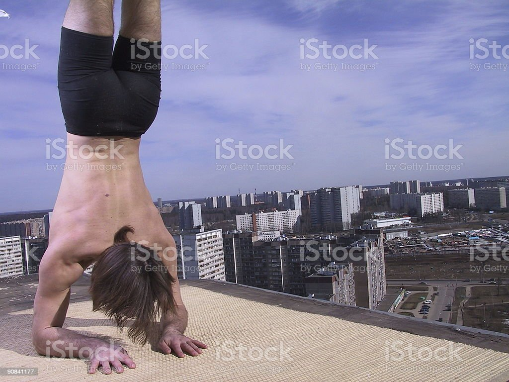 Hatha yoga on the roof royalty-free stock photo