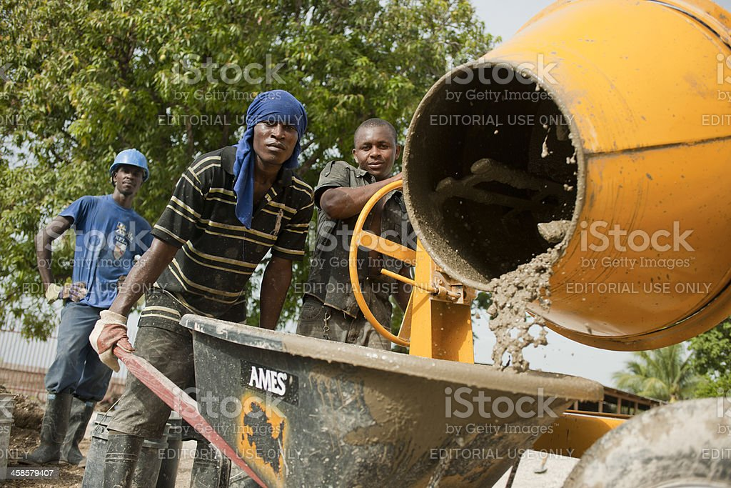 Hatian construction workers stock photo