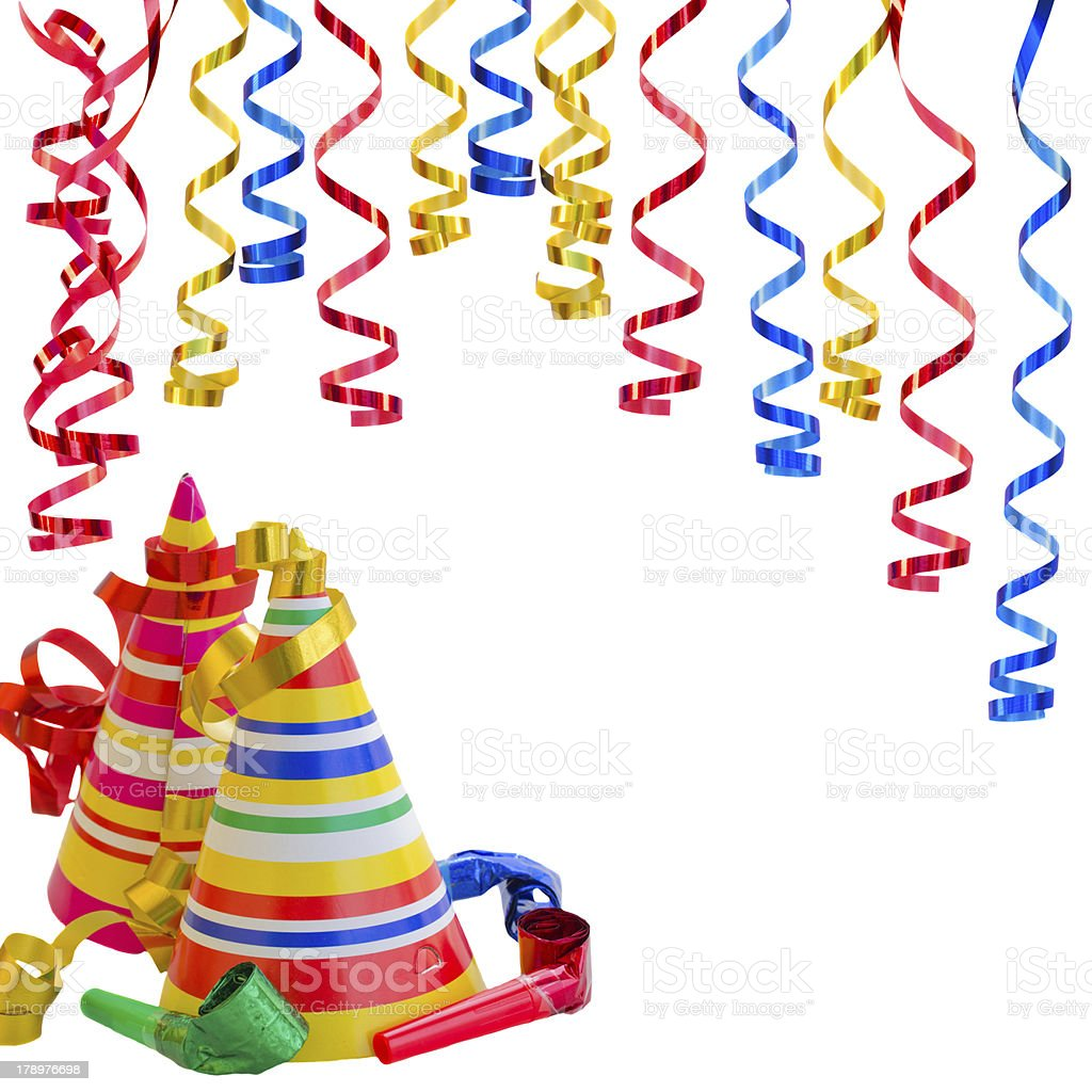 Hats and Serpentine for birthday party royalty-free stock photo
