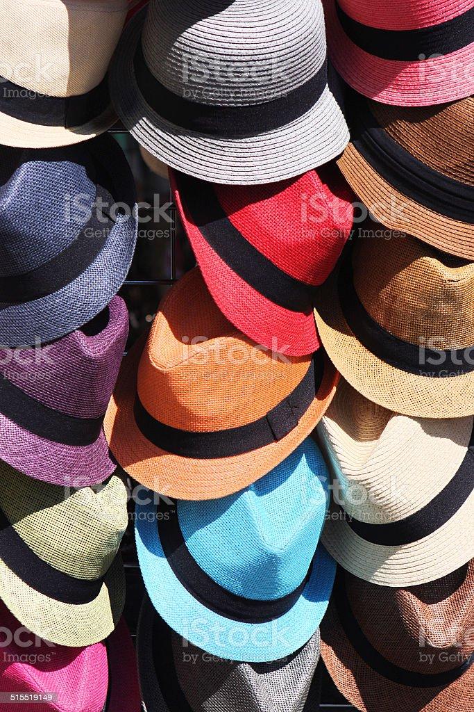 Hats Bonnets Fedoras Homburgs Headwear stock photo