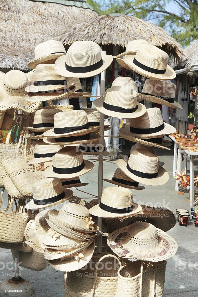 Hats for sale in streetside market royalty-free stock photo