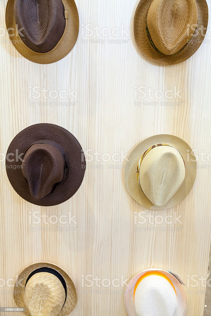 Hats on a Wall stock photo