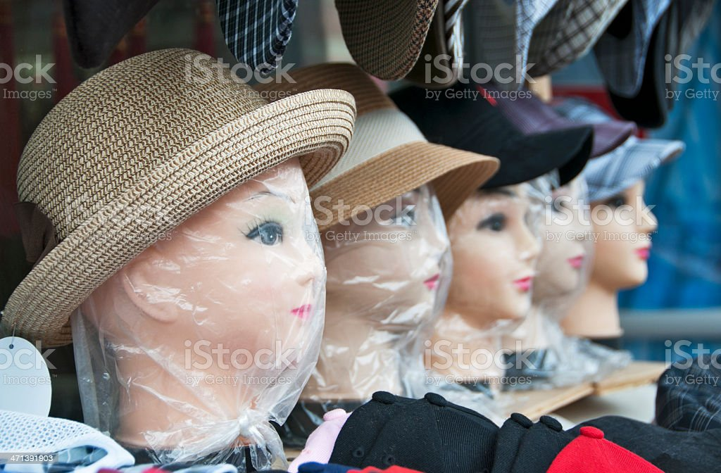 Hats on Mannequin Heads royalty-free stock photo