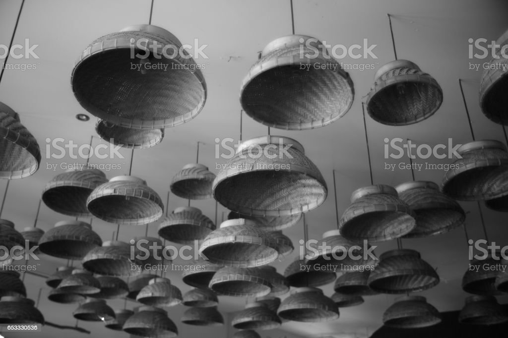Hats on the Ceiling stock photo