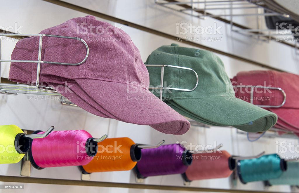 Hats ready for embroidery royalty-free stock photo