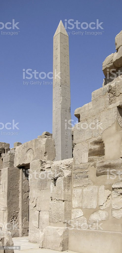 Hatschepsut-Obelisk around Precinct of Amun-Re royalty-free stock photo