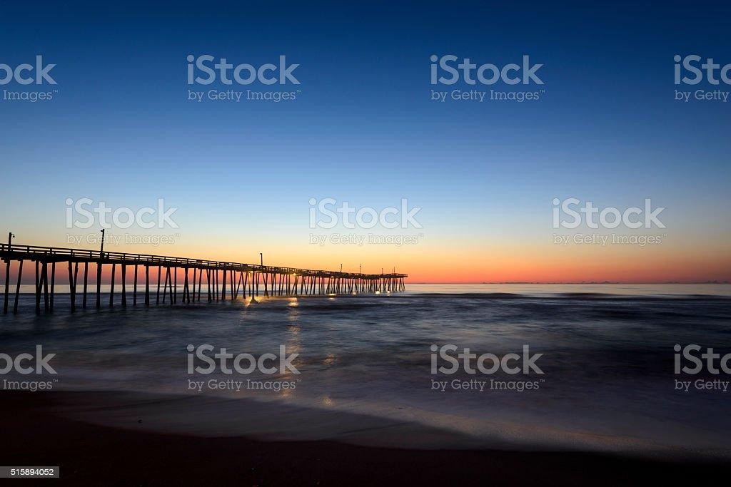 Hatteras Island Pier at Sunrise stock photo