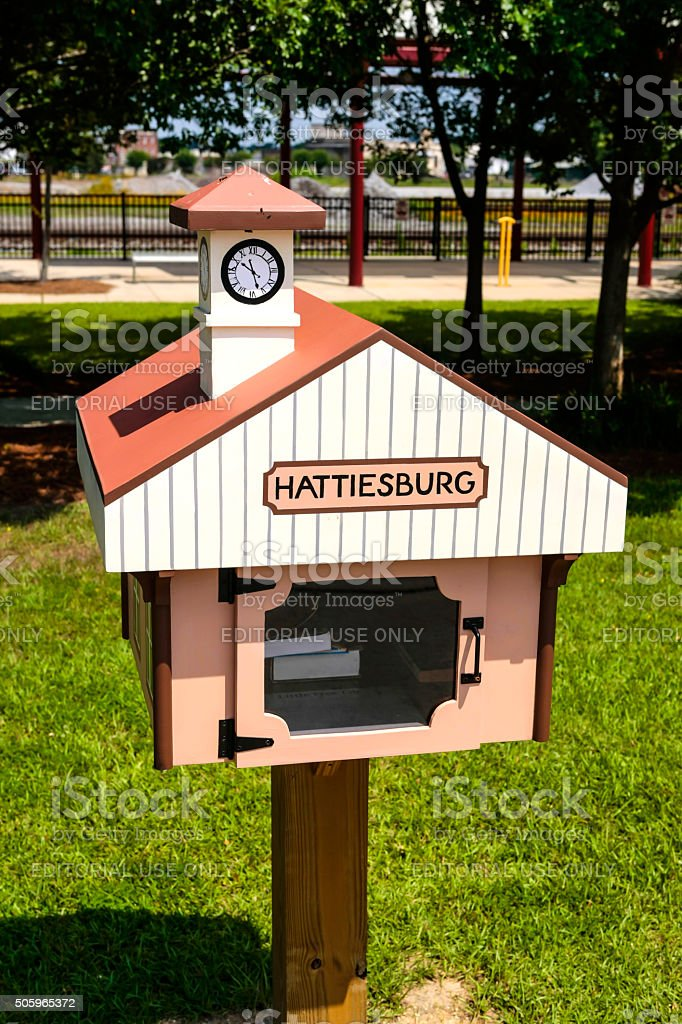 Hattiesburg MS lending library drop-off box stock photo