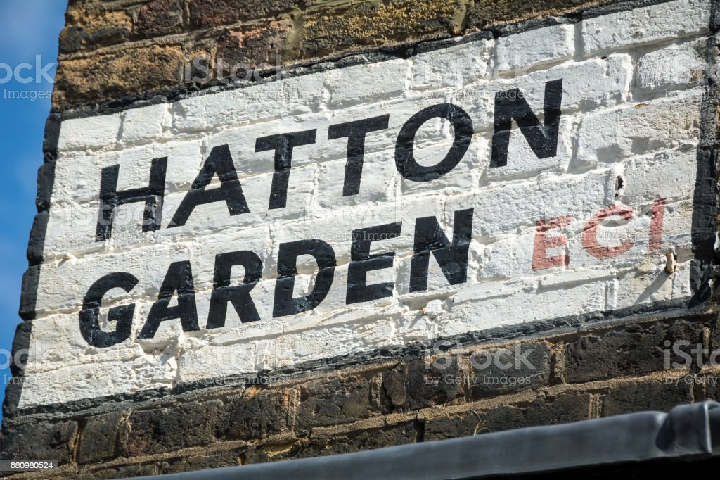 Hatton Garden street sign on London street corner stock photo