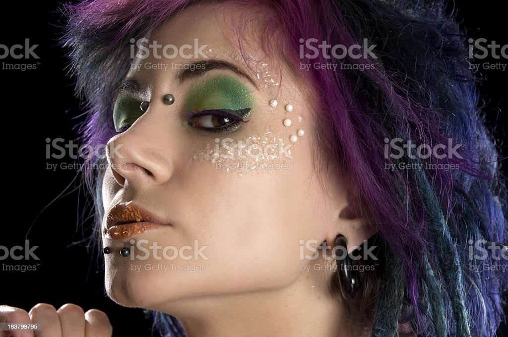 Haughty look from colourful model. royalty-free stock photo