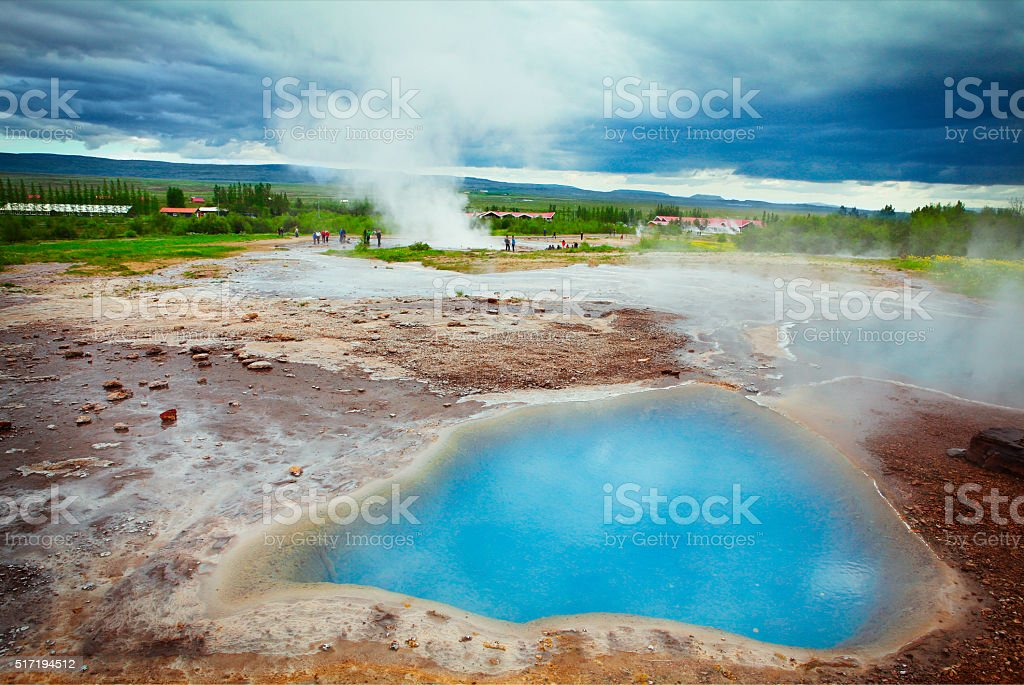 Haukadalur geothermal area in Iceland stock photo
