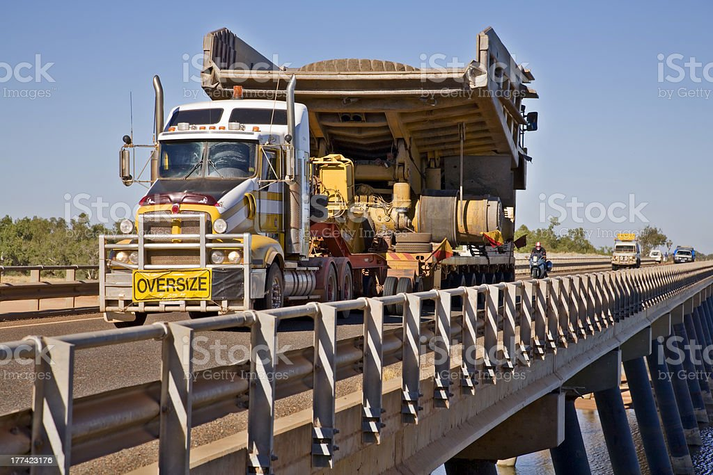Haul Truck  Being Transported by Road stock photo