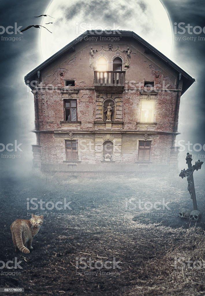 Haunted derelict old house. Halloween design stock photo