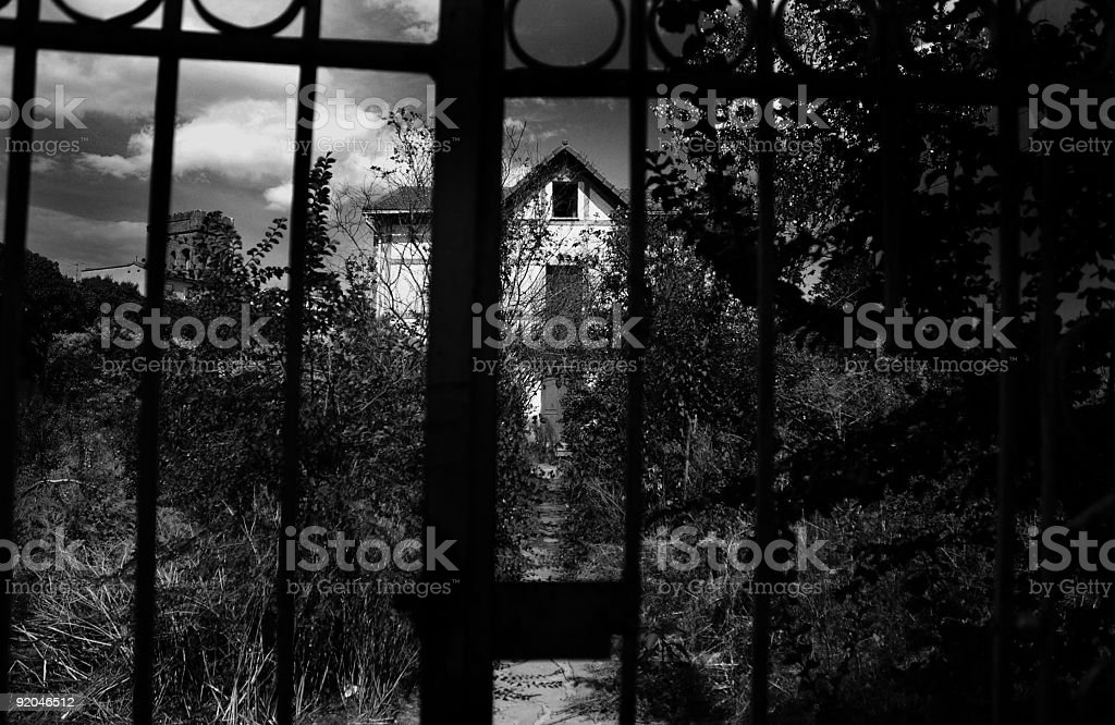 Haunted house black and white royalty-free stock photo