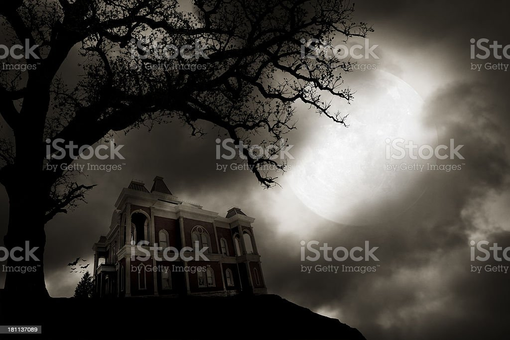 Haunted house on to of hill stock photo