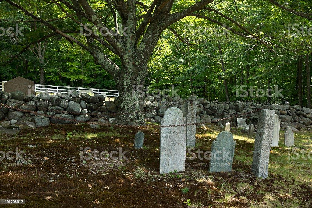 Haunting Graveyard znd Tombstones stock photo