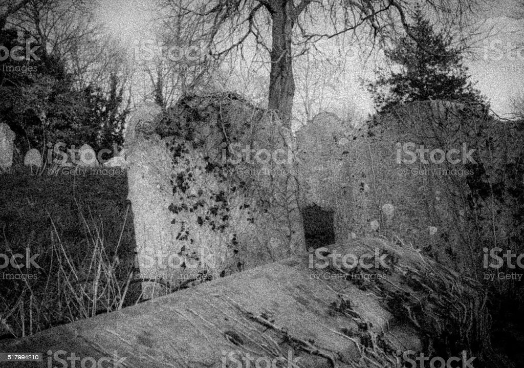 Haunting image of gravestones in a cemetery stock photo