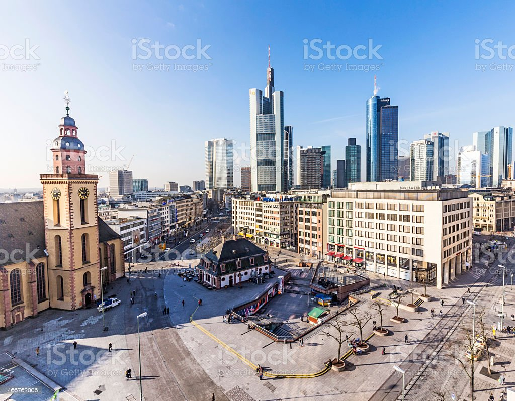 Hauptwache Plaza and modern skyscarpes in Frankfurt stock photo
