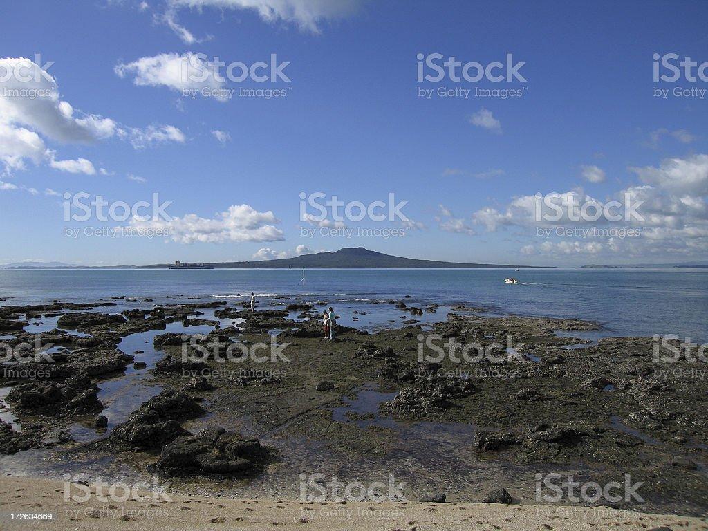Hauraki gulf and rangitoto stock photo